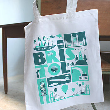 'Bristol' City Typographic Cotton Tote Bag