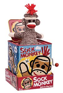 Sock Monkey Jack In The Box - toys & games