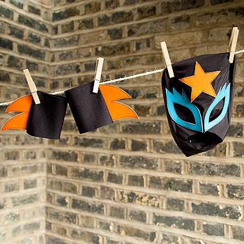 glam rock cuff/mask set (black,orange,turquoise)