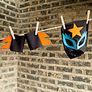 glam rock cuff/mask set (black,orange,turquoise)