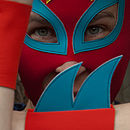 glam rock cuff/mask detail (red,turquoise,yellow)