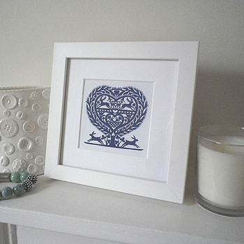 Miniature March Hares Heart Print
