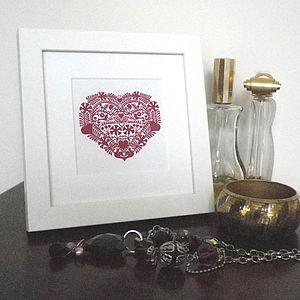 Miniature Romantic Heart Love Token Print