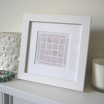 Miniature Love Heart Quilt Print
