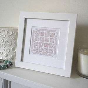 Miniature Love Heart Quilt Print - posters & prints