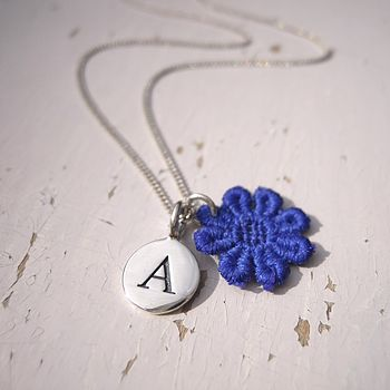 Personalised Lace Initial Silver Necklace