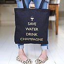 Thumb save water drink champagne tote bag