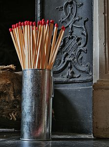 Scandinavian Style Matches In Metal Container - fireplace accessories