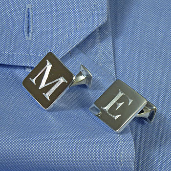 Square Silver 'Secret Message' Cufflinks