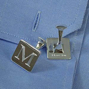 Square Silver 'Secret Message' Cufflinks - cufflinks