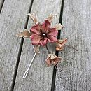 Burnished Bronze pin in 'deep tawny pink and pale copper'