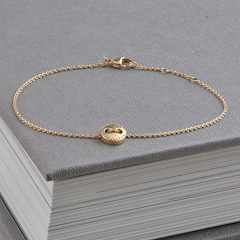 Gold Scalloped Button Friendship Bracelet