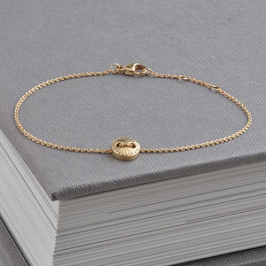 Gold Scalloped Button Friendship Bracelet - women's jewellery