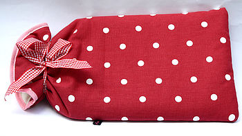 Hot Water Bottle Red Spotty