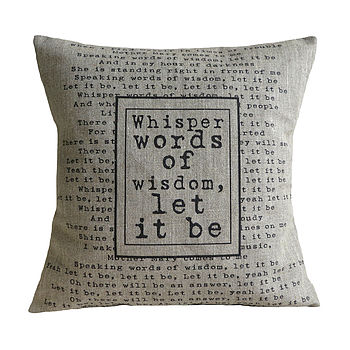 'Let It Be' cushion linen