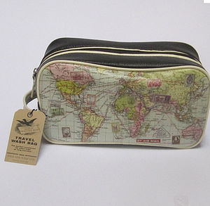 Personalised World Map Wash Bag - men's grooming
