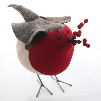 Hand Crafted Felt Berry Robin