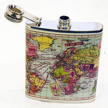 World Map Hip Flask