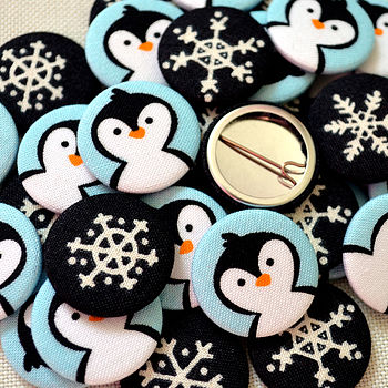 Mixed pack of penguin and snowflake fabric badges