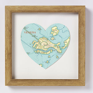 Venice Map Heart Print - posters & prints