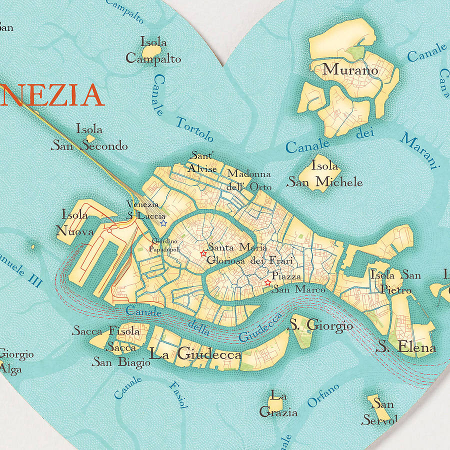Venice Map Heart Print By Bombus Off The Peg Notonthehighstreetcom - Venice map image
