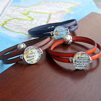 Personalised Location Leather Wrap Bracelet