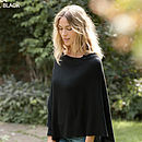Superfine Cashmere 2 way Poncho Black