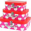 Set Of Three Child's Heart Suitcases