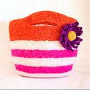 Striped Felt Bag With Daisy Knitting Kit
