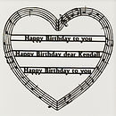 Personalised Happy Birthday Music Heart