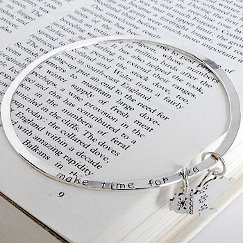 'Make Time For Tea' Silver Bangle