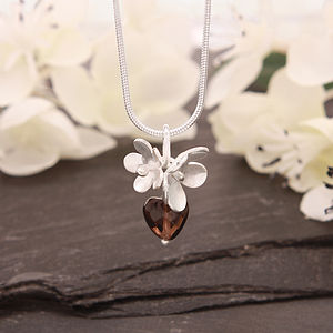 Blossom And Smokey Quartz Heart Necklace - necklaces & pendants