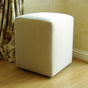 Cube Footstool In Herringbone Wool - furniture