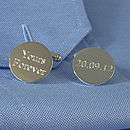 Personalised Round Silver Cufflinks