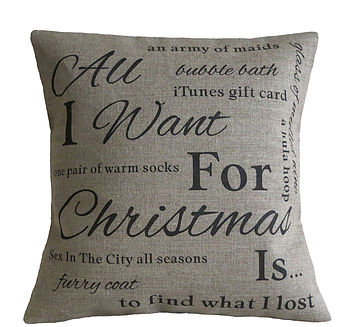 Personalised Christmas Wish List Cushion Linen