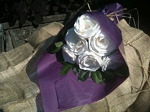 White Paper Rose Bouquet - anniversary gifts