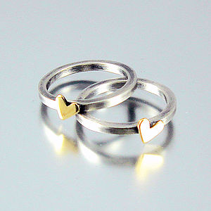 Handmade Heart Of Gold Ring, Silver And Gold - rings