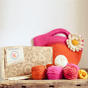 Felt Bag With Daisy Knitting Kit - knitting kits