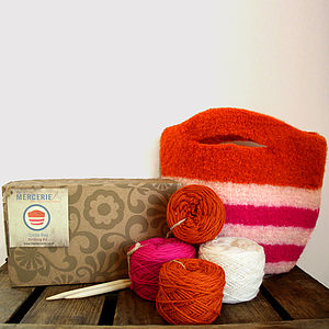 Striped Felt Bag Knitting Kit