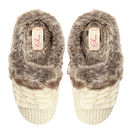 Nora Knitted Fur Lined Slippers - Cream