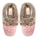 Nora Knitted Fur Lined Slippers - Pink