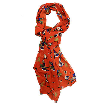Evelyn - Bird Printed Scarf Rust