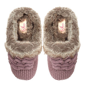 Nora Knitted Fur Lined Slippers - Chocolate - shoes & boots
