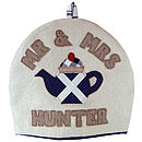 personalised mr & mrs scottish flag tea cosy