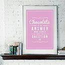 'Chocolate Is The Answer' Retro Art Print