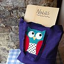 Purple Owl Applique Bag