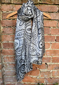 Large Pure Silk Scarf 'Paisley' - hats, scarves & gloves