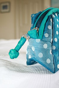 Silk Dotty Wash / Cosmetic Bag Three Colours