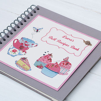 Personalised Teacups And Cupcakes Recipe Book