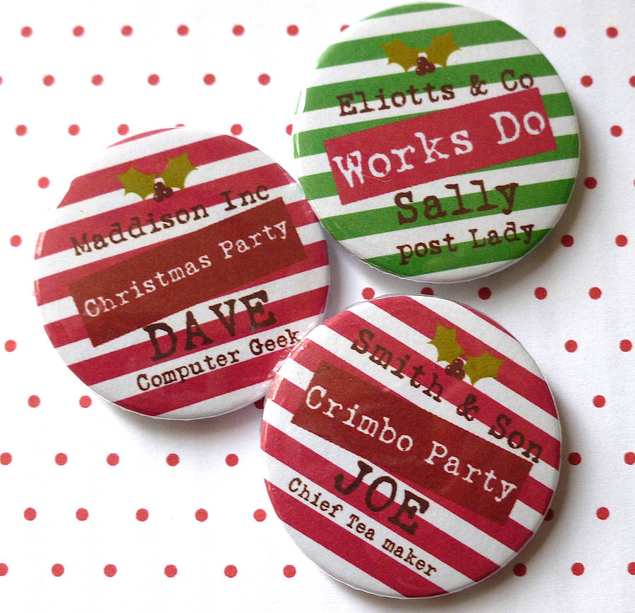 Christmas personalised party badge by tilliemint loves notonthehighstreetcom for Christmas name badges